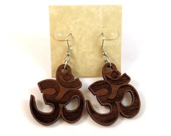 Om Symbol Sustainable Wooden Earrings - in Walnut - Wood Dangle Hook Earrings