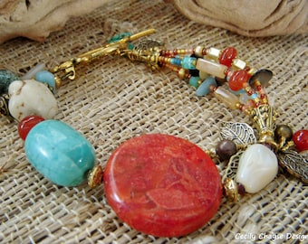 Sara Bracelet with Red Sponge Coral/Turquoise Magnesite/Mother-of-Pearl/Crysoprase/Honey Opal/Jade/Garnet/Aventurine/Agate/Seed Beads/ Gold