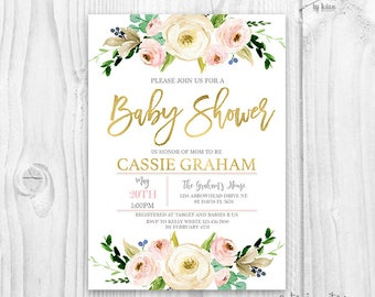 Floral Baby Shower Invitation, floral blush and gold Invitation, baby girl invites, boho baby shower, rustic floral baby shower invitation