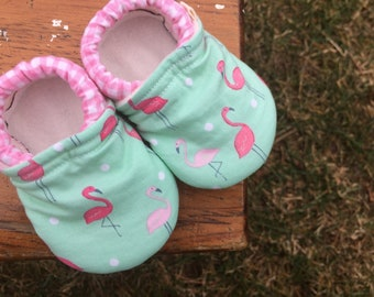 Baby Shoes for Girls - Pink Flamingoes on Mint with Pink Gingham - Custom Sizes 0-24 months 2T-4T