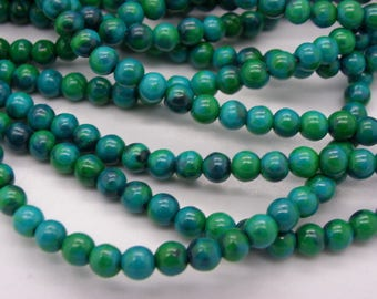 50 4 mm chrysocolla stones has round stones natural 1 hole