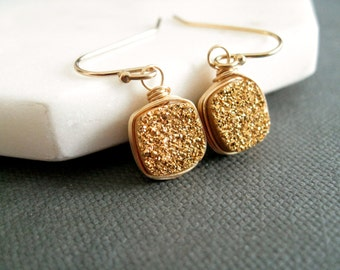 Druzy earrings Gold druzy earrings square 14k gf Drusy dangle Vitrine Gift for her Under 60 bridesmaid gift