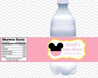Baby Pink Minnie Mouse Head  - Personalized water bottle labels - Set of 5  Waterproof labels