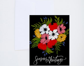 Holiday Greeting Cards - Seasons Greetings - Bold Blooms  - Single A-2 Card