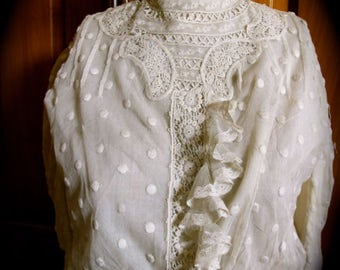 Authentic Victorian blouse, Victorian lace top, Edwardian, steampunk lace top, victorian wedding, high throat blouse, gothic lace blouse