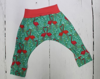 LIMITED EDITION Flamingo Harem Pants, Baby and Kids Harem Pant Leggings, Skinny Harems, Flamingos, Emerald Lagoon