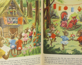 Vintage Childrens Book-German-Rabbit-Bunny