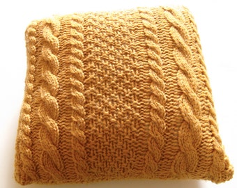 THE AVERAGE JANE Knitted square cable pillow cover - made-to-order Decorative, cabled throw pillow gold, mustard pillow cover