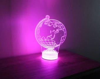 Earth World Globe Sphere 3D Night Lamp, 3D Night Light, Children Light Home Decor Illusion light