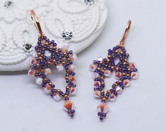 PDF Tutorial - Caterina Earrings Instant download Beadweaving Instruction Beading Pattern