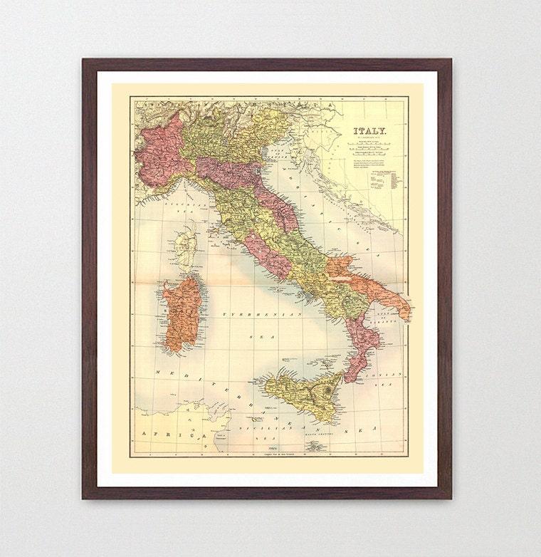 Italy Map - Map Art - Map Decor - Italy Art - Italy Map Art - Italy ...