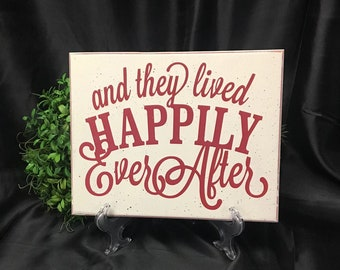 Wooden Sign, Wedding Sign, and they lived Happily Ever After, Wedding Shower gift,  Inspirational sign, wedding sign, marriage sign