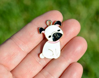 5  Gold Plated with White Enamel French Bull Dog Charms GC2299