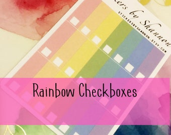 Erin Condren Stickers Empty Rainbow Checkbox Stickers for Erin Condren Life Planner!
