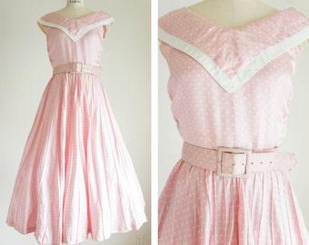 1950s Pink Polka Dot Dress / Vintage / Size XS Small / Nautical Peony Dress