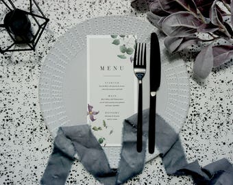 Purple Bloom Floral Menu - Printed Design - Personalised Menu - Available with or without foil