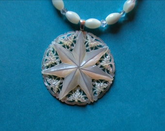 White Star Mother of Pearl Pendant on MOP Beads & Swarovski crystals with sterling toggle clasp and findings