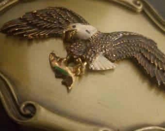 Vintage American bald eagle with fish belt buckle