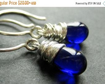 MOTHERS DAY SALE Sterling Silver Earrings - Cobalt Blue Earrings. Wire Wrapped Teardrop Earrings. Handmade Jewelry.