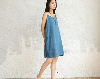 Women cotton and linen dress – Artistic loose vest-style dress