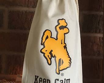 Keep Calm and Cowboy On Offically Licensed University of Wyoming Wine Tote/Bag