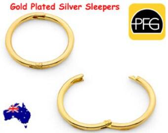 365 Sleepers 1 Pair Gold Plated Solid Sterling Silver Hinged Hoop Non Allergenic Sleeper Earrings Australian Made
