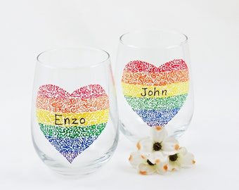 Gay wedding gift, LGBT Pride, Personalized wine glasses, Heart, Rainbow, Hand painted wine glasses