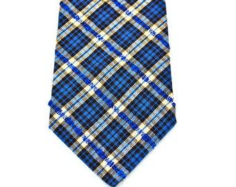 Plaid Necktie, Mens Necktie, Blue Plaid Necktie, Custom Neckties, Navy Plaid Necktie