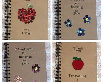 Thank you teacher personalised handcrafted notebook gifts school teacher sports clubs