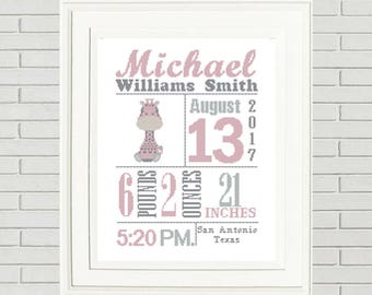 Giraffe baby announcement cross stitch pattern custom cross baby cross stitch pattern custom cross stitch announcement cross stitch new baby gift baby shower gift negle Image collections