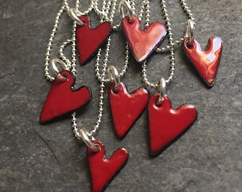 """Tiny red enamel heart pendant 18"""" sterling silver chain"""