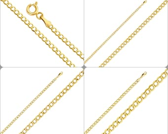 """New 2-5mm 14K Yellow Gold Italy Cuban Curb Chain Necklace 16-26"""""""