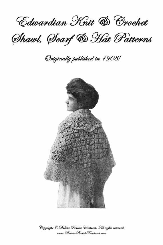 1908 Edwardian Gibson Mädchen stricken häkeln Schal