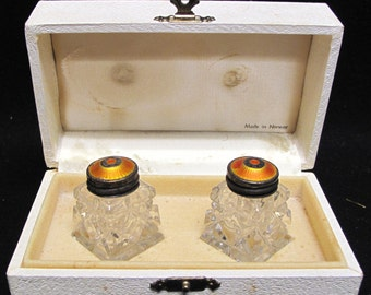 Norway 925 Sterling HROAR PRYDZ Sterling Orange Red Enamel Crystal Salt Pepper Shakers