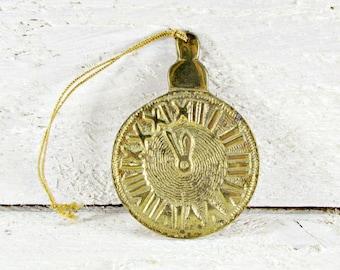 Vintage Brass Pocket Watch Ornament, Christmas Tree Ornament Decoration, Victorian Steampunk, 1970s Home Decor, Gift for Dad Boyfriend