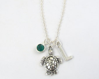 Sea Turtle Necklace- choose a birthstone and initial, Sea Turtle Jewelry, Turtle Gift, Turtle Necklace, Turtle Jewelry, Turtle Charm