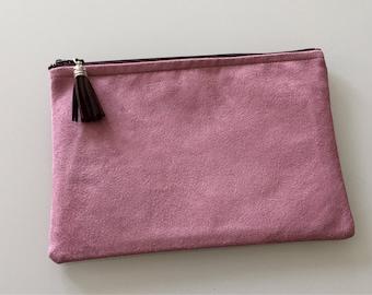 Pink pouch suedine