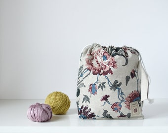 Drawstring bag. Large Knitting Project Bag. VIP bag. Knit Crochet project organizer. Printed romantic flowers. Special KnitterBag design.