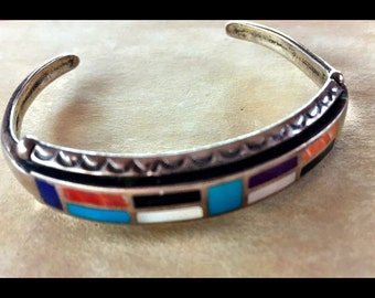 """Sterling Native American Bracelet with Channel Inlay, 5"""" Gorgeous."""