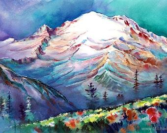 Mt Rainier From Sunrise Meadows - Watercolor Painting Print by Michael David Sorensen. Mount Rainier Pacific Northwest. Washington Mountain.