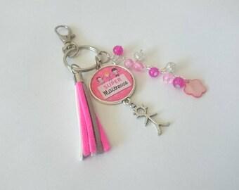 Keychain / bag Super teacher tones white rose charm