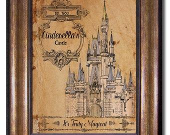 Cinderella's Castle - Vintage Style Print - Disney Land - Disney World - Princess Poster Sizes 5x7, 8x10, 11x14, 16x20, 18x24, 20x24, 24x36