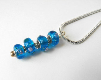 Lampwork Bead Necklace - Colorful Blue Glass Bead Pendant Necklace by ElleBelle Art