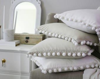 Pom Pom Pillow Cover,White Pom Pom Pillow, Pillow Cover, Farmhouse Pillow,