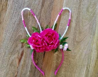 Easter Floral Rabbit Bunny Ears Headband
