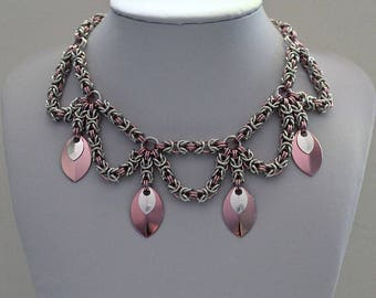 Chainmaille Necklace, Byzantine Weave, Choker Necklace, Pink and Silver, Chainmaille Jewelry