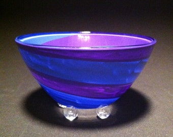 blue & purple swirly cereal / ice cream bowl with crystal clear marble feet by Detroitglasscompany
