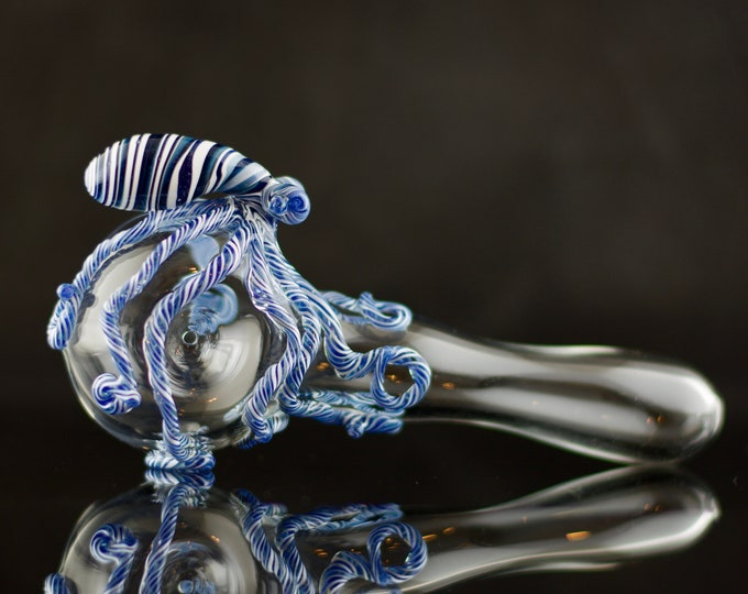Featured listing image: Octopus Large Glass Spoon Pipe in Clear & Artist Swirl, #678