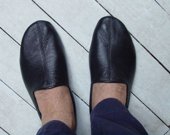 Black Babouche (Dervish shoes) Leather Slipper