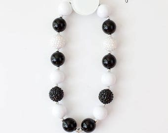 Bubblegum Necklace, Cake Smash Necklace, Birthday Necklace, Princess Crown Necklace, Black and White Bubblegum Necklace